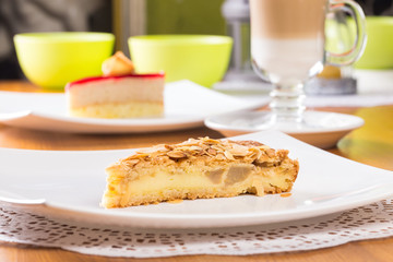 Slice of apple pie with almond