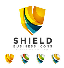 Set of protection shield logo concepts
