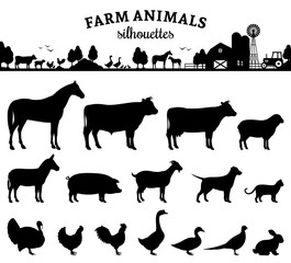Vector Farm Animals Silhouettes Isolated on White