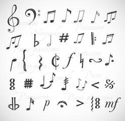 Music notes and signs hand-drawn in sketchy style