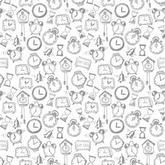 Seamless background with doodle sketch watches