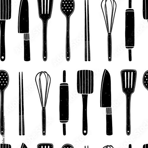 Kitchen Utensils Wallpaper seamless pattern with kitchen utensils on the white background