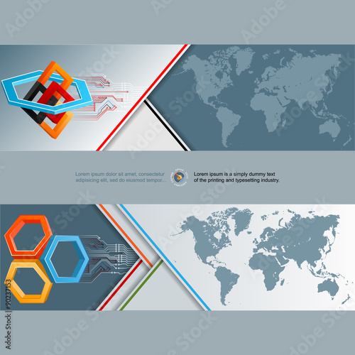 Abstract graphic design web banner header layout template set of abstract graphic design web banner header layout template set of banners with world gumiabroncs Choice Image
