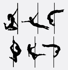 Pole dancer female silhouettes