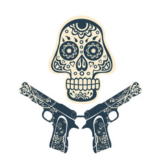 Hand drawn skull with guns on a grungy background in vintage