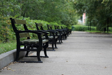 a row of benches