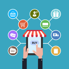 icon online shop. sale Internet. flat style