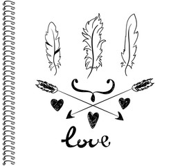 feathers arrows and hearts on a white background vector print cover notebook or notepad