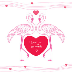 Two dotted pink flamingos couple in love with red heart