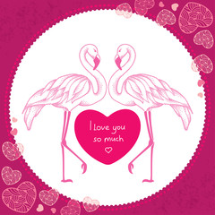 Two dotted pink flamingo with red heart in the round frame