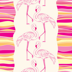 Seamless pattern with dotted pink flamingo and colorful stripes