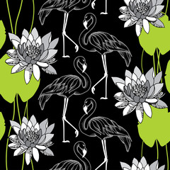 Seamless pattern with dotted flamingo in white and water lilies