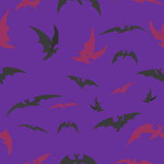 bats on a lilac background for Halloween