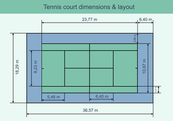 Big tennis court with dimensions and layout