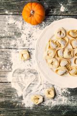 Pasta ravioli with pumpkin
