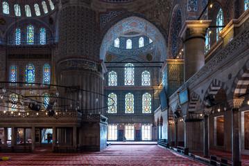 Interior shot of mosque in Istanbul, Turkey.