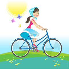 Girl riding bike on summer vacation. Vector illustration.
