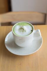 Hot green tea milk