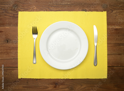 Table Setting On Wooden Rustic Dinning Table For One