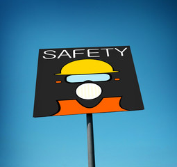 construction safety sign with blue sky