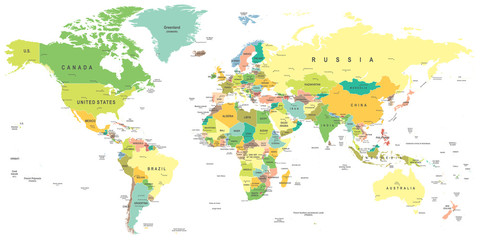 World map - highly detailed vector illustration. Wall mural