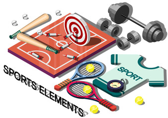 illustration of info graphic sports equipment concept in isometric graphic