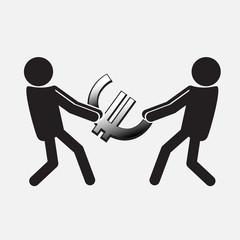 Two Man pulling a money symbol illustration