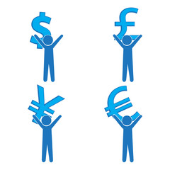 Man carrying with a money sign, pictogram illustration