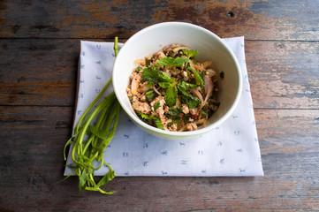 Spicy minced pork salad, The north-eastern Thai style food