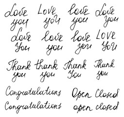 """Hand drawn typography poster. Words """"Love you"""", """"Thank you"""", """"Co"""