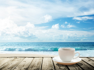 Fotomurales - sea and cup of coffee