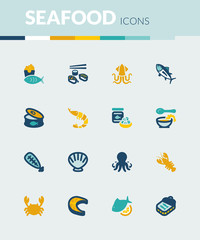 Seafood colorful flat icons