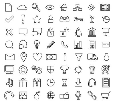 Set of basic business line icons for web presentations