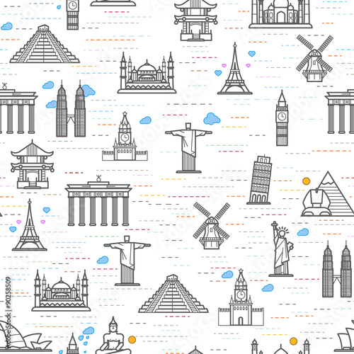 Seamless Pattern Of The Attractions World Outline Drawing For Your Application