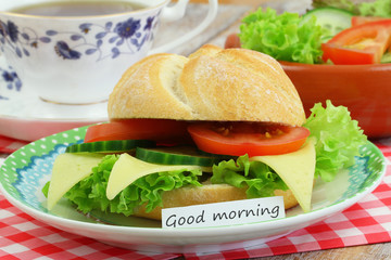 Good morning card with cheese roll, coffee and green salad
