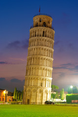 Leaning tower in Pisa at night, Italy.