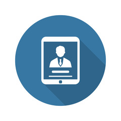 Business Profile Icon. Concept. Flat Design. Long Shadow.