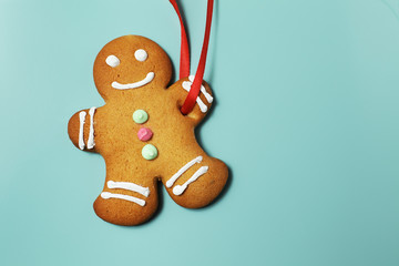 Image of Gingerbread man on green background