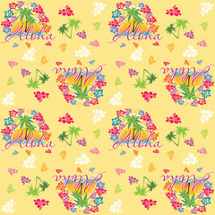 Seamless Pattern Aloha travel concept