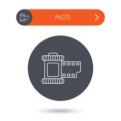 Retro photo icon. Camera roll sign.