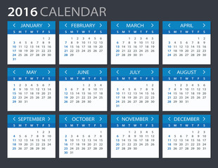 2016 Calendar - illustration. Vector template of 2016 calendar.