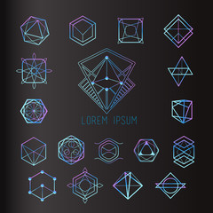 Sacred geometry forms, shapes of lines, logo, sign, symbol