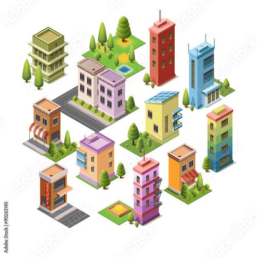 Bon Isometric Concept Buildings, House, Hotel, Shop, Roads, And Parks. Set