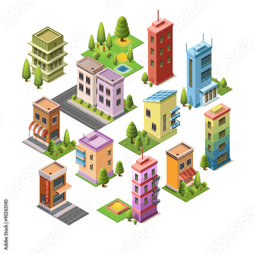 isometric concept buildings house hotel shop roads and parks set - 3d Building Design Free