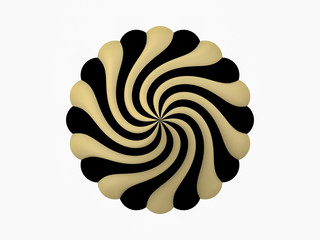 Golden black circular flower logo