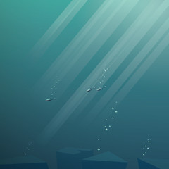 Underwater scene vector background. Peaceful seascape with fish