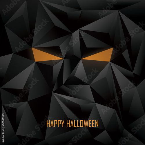 halloween poster template low poly background monster face stock