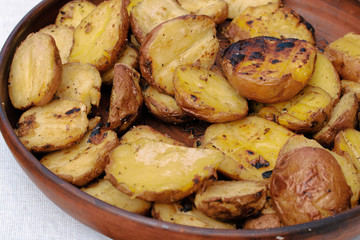 Baked potatoes background