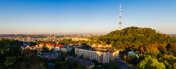 Panorama aerial view of Lviv, Ukraine