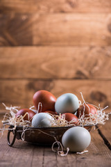 Farm fresh free range eggs in rustic bowl